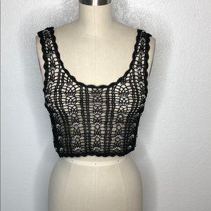 Vintage black embellished knit burning man top S